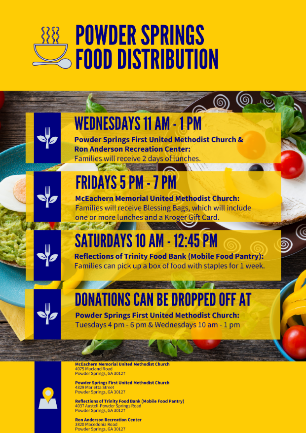 List of food distribution sites in Powder Springs effective 4-2-2020