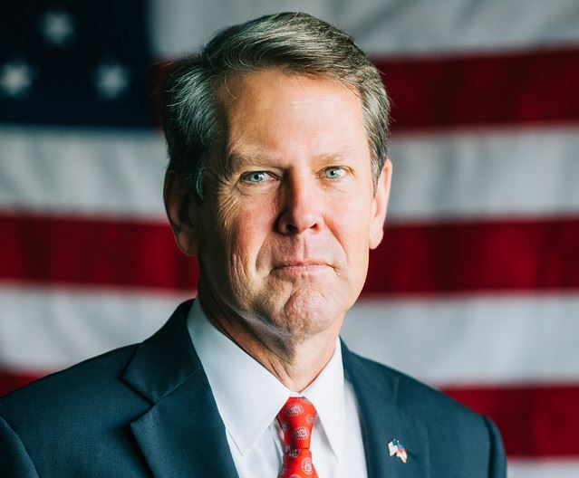 Official photo (cropped) of Georgia Gov. Brian Kemp. Retrieved April 2, 2020