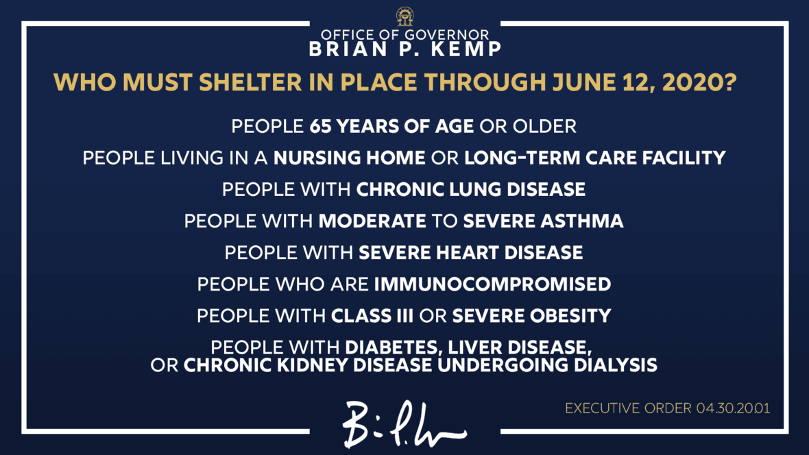 Gov. Brian Kemp Executive Order Poster 1 (Shelter In Place) Released May 1, 2020