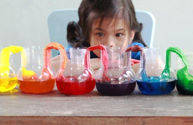Asian girl watching a rainbow experiment. Paper towels draped in colored water to turn rainbow color