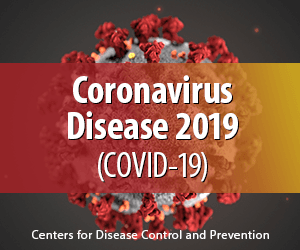 "Graphic featuring ""Coronavirus Disease 2019 (COVID-19)"" text over coronavirus cell. Graphic re"
