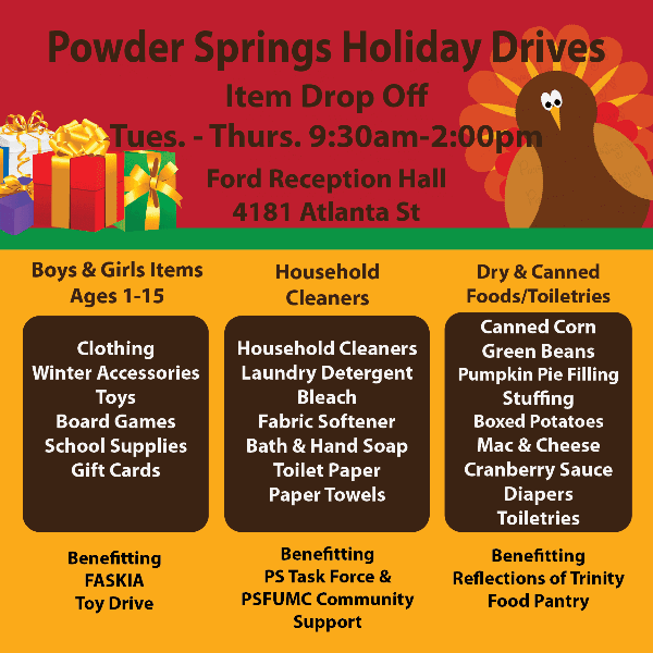 Holiday Drives Flyer advertising the Holiday Item Drive happening in Powder Springs.