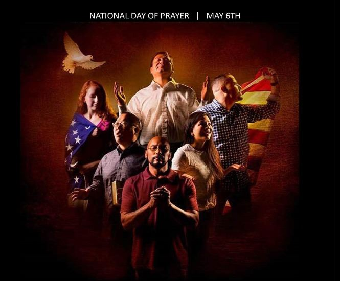 Day of Prayer Poster showing a group of people gathered together in prayer