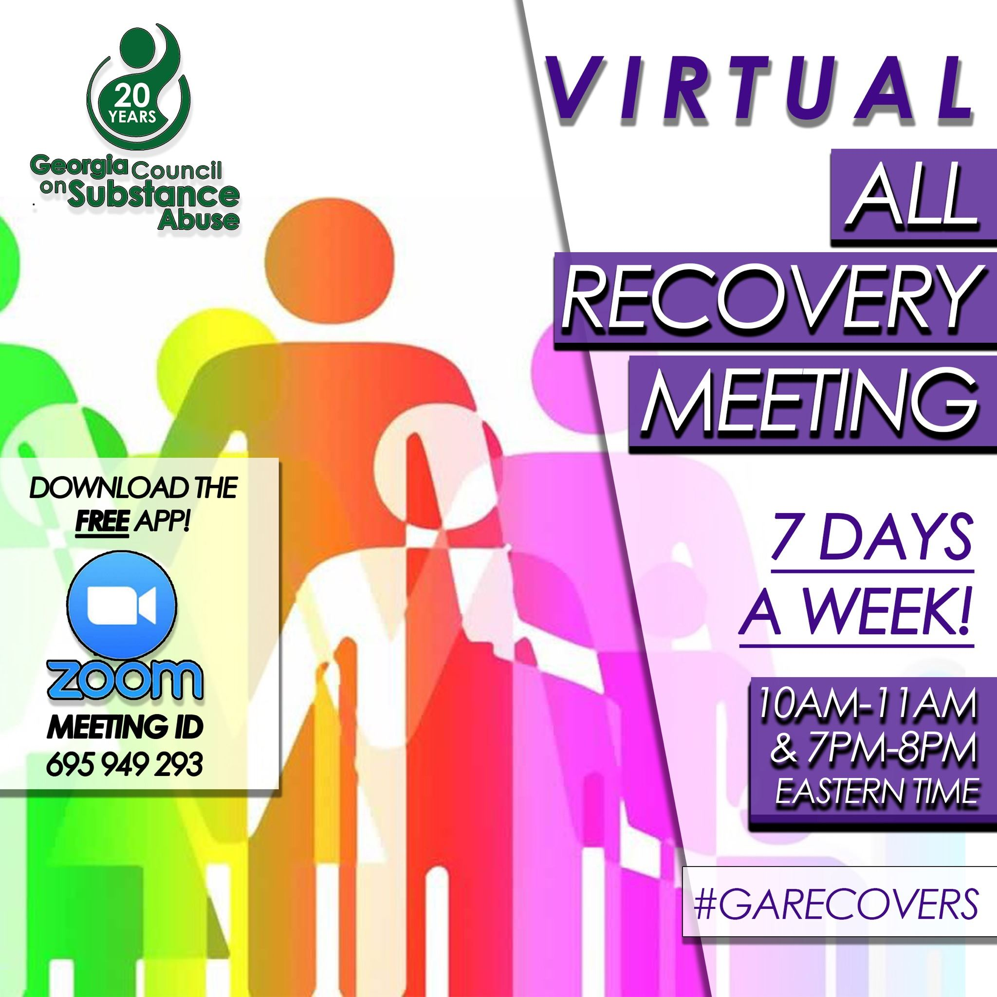 Georgia Council on Substance Abuse Virtual All Recovery Meetings flyer
